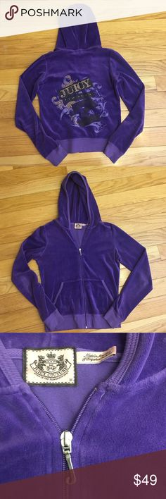 Juicy Couture Velour Hoodie Purple juicy velour tracksuit hoodie. Light wear. Gold print on the back. Juicy Couture Tops Sweatshirts & Hoodies