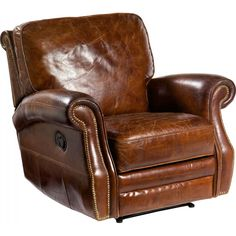 The Harley leather recliner is upholstered in premium top-grain vintage cigar leather. Features a lever-action recline and extra padded cushions.