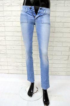Jeans Donna DIESEL HUSHY Taglia W 25 l 34 Pants Slim Denim Pantalone Blu  Chiaro Diesel ec625197c87
