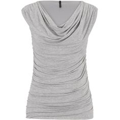 maurices The Sleeveless Drape Neck Top In Heather Gray ($24) ❤ liked on Polyvore featuring tops, grey, maurices, shirts, layering shirts, layered tops, grey top, heather gray shirt and rayon tops