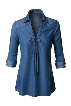 Womens Roll Up Long Sleeve Lace Up Front Tencel Denim Top Lightweight, soft material for all-day comfort Hand wash cold / No bleach / Tumble dry low Fabric Kurti Designs Party Wear, Kurta Designs, Casual Dresses, Fashion Dresses, Denim Fashion, Womens Fashion, Denim Top, Chambray Top, Denim Shirt