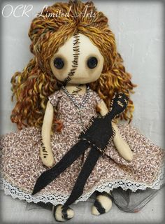 Reserved ROBERTA and Amulet doll  creepy cute Fantasy button eye Gothic Gift Handmade OOAK spooky  Primitive folk art
