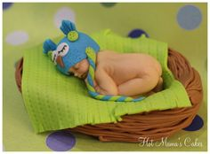 Sleeping Baby Cake Topper Owl Themed by HotMamasCakeToppers