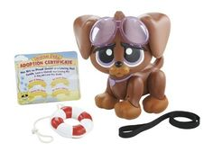 MGA SwimToMePuppy Lifeguard-Chocolate Lab 1 by MGA Entertainment. $46.95. From the Manufacturer                This Sweet Little Stray Loves to Swim All Day. This cute little lifeguard is always on duty, but he has an extra surprise.  Place him in water and he will dog-paddle his way into your heart.                                    Product Description                This cute puppy comes with 1 swim to me Puppy Lifeguard, 1 Pair of Goggles, 1 Life Preserver, 1 Leash, 1 Adopti...