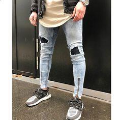 075401fbdc0 Män Jeans Stretch Destroyed Ripped Folds Design Mode Ankel Dragkedja Mager  Biker Jeans För Män Jogger Byxor Plus Storlek 38