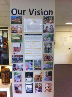 photo board illustrates the school vision - this could be great for individually classrooms to represent their goals visually