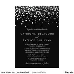 Faux Silver Foil Confetti Black and White Wedding Card