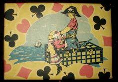 Ephemera Vintage Paper Covered Cardboard Gift Box Pirate Theme - The Gatherings Antique Vintage
