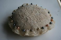 Antique Lace Pin Cushion by sandraevertson..Brussels lace Circa 1900