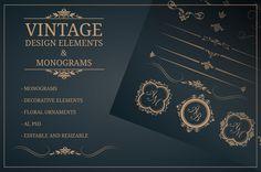 Vintage design elements &monograms • Available here → https://creativemarket.com/Maria_Kolyadina/555539-Vintage-design-elements-monograms?u=pxcr