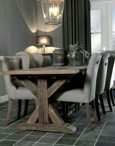 En nog een WordPress site - beautiful dark gray dining room with weathered table/linen chairs – Stoere tinten. Home Interior, Interior Design, Home And Living, Living Room, Dining Room Inspiration, Dining Room Table, Home Kitchens, Sweet Home, Room Decor
