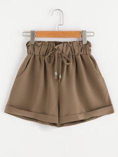 Shirred Drawstring Waist Cuffed Shorts