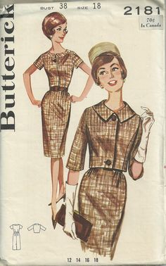 Butterick pattern 2181 for a lovely wiggle dress and jacket! Year: early 1960s    Measurements: size 18 bust 38    Pattern complete: complete
