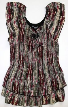 Signature Larry Levine Woman Multi-Colored Short Sleeve Blouse-Womens-Sz 1X  NWT #LarryLevine #Blouse
