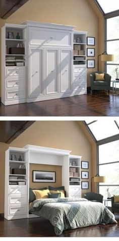 Turn your home office into a guest room with a hide-away Murphy bed. The bed stows against the wall in its custom frame when not in use, and when company comes you simply pop it open and it's ready fo Furniture, House Design, Small Spaces, Home Projects, Home, Murphy Bed Diy, Remodel Bedroom, Bed Plans, Guest Room Office