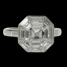 HANCOCKS London.Asscher 2.01ct F VS2.Asscher cut diamond ring with baguette diamond surround