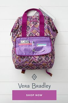 859b188a663f This backpack is unusual because the frame opening allows for the top to  open wide for. Vera Bradley