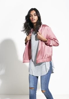 Bomber jackets now come in all styles, but the lightweight, satin version takes first prize | Gina Tricot Collections | www.ginatricot.com | #ginatricot
