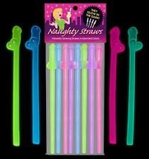 Bachelorette Party Supplies Glow In The Dark Penis Straws Pack Of 8