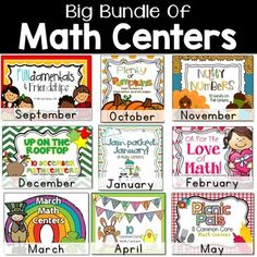 This big bundle of math centers gives you a school year's worth of hands on engaging math games for your math rotations!