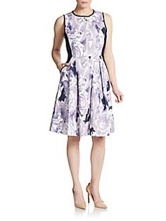 Floral Print Paneled Fit-And-Flare Dress