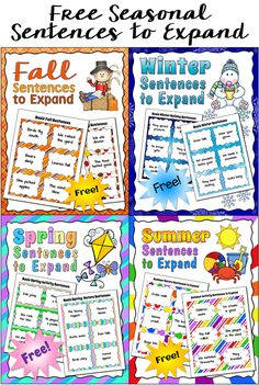 Teaching Kids to Write Super Sentences - Corkboard Connections blog post with sentence-writing lesson and free seasonal sentences to expand task cards.