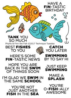Create fun and sassy handmade cards for any occasion using this clever stamps set. Great for kidos and birthday party favors too! Phyllis & Finn the Fish Stamp Set at Technique Tuesday.
