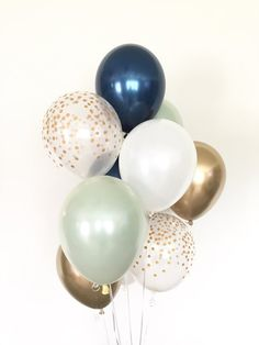 Sage Green Balloons Green and Navy Balloons Light Green Birthday Balloon Decorations, Bridal Shower Decorations, Birthday Balloons, Wedding Decorations, Navy Baby Showers, Green Bridal Showers, Balloon Lights, White Balloons, Deco Ballon