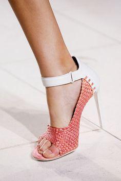 Balenciaga Red  White Stiletto Heel Sandals Spring 2014 RTW #Shoes