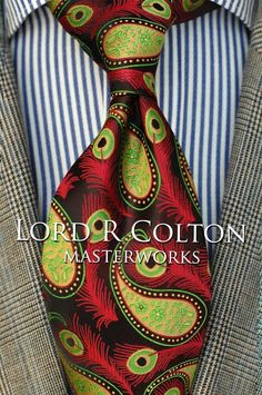 Lord R Colton Masterworks Tie - Brown Lime Red Peacock Silk Necktie - $195 New #LordRColton #NeckTie