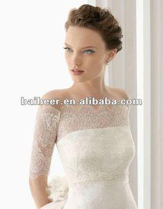 Hot Sale lace 3 4 sleeve wedding dress