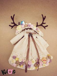 Flowers Dress and flowers deer headband For Blythe by kuloft, $60.00
