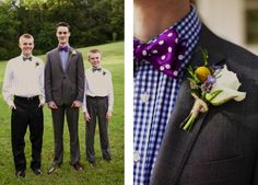 Great boutonniere and love the plaid and polka-dot mix. www.cedarwoodweddings.com