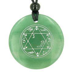 Magic Hexagram Amulet Green Quartz Pendant Necklace