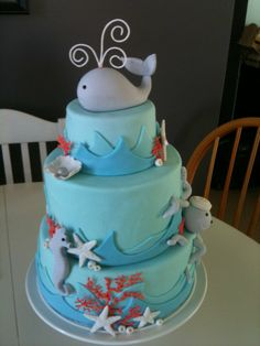 Sea Creatures - Sea Creature cake in blue hues