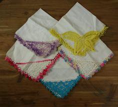 Vintage Ladies Handkerchiefs Hand Crocheted Edging Lot of Five