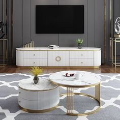 Coffee Table Styling, Coffee Table With Storage, Coffee Table Design, Small Tables, Large Table, White Round Coffee Table, Center Table Living Room, Living Room Tv Unit Designs, Petites Tables