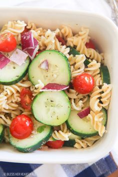 Skinny spicy cucumber pasta salad combines the freshness of your favorite cucumber salad and the addiction of a cool and tangy pasta salad. Packed full of flavor, this easy side dish is made in less than 10 minutes!