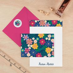 "Stationery: Floating Florals Not Cards- Bright, happy floras appear to ""float"" on this stunning floral cover option! A mixture of bold florals in bright colors bursts from the cover of your book, contrasting beautifully with the elegant cursive font choice. Choose the background shade and allow the design to really shine! Elegant Cursive Fonts, Write It Down, Personalized Stationery, Journal Covers, Erin Condren, Business Planning, Note Cards, Playing Cards, How To Plan"