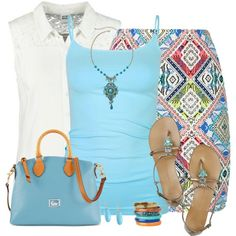 """""""Aztec Skirt and Flat Sandals"""" by daiscat on Polyvore"""
