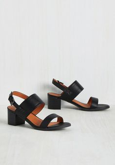 The first time you step out in these strappy sandals certainly won't be the last! From close friends to fellow fashionistas, everybody will be begging for an encore performance of your strut in the black faux-leather bands and slingback straps of these block heels, which you happily oblige!