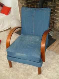 Chair re cover commission using customer's old jeans by Barley Massey. http://www.fabrications1.co.uk