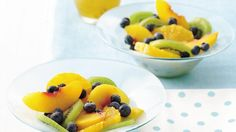 Dish up this pretty mix of kiwis, blueberries, and other fresh fruits, with frozen limeade the time-saving step for a sweet honey dressing.