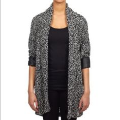 Faux leather trimmed knit cardigan Brand new! William Rast Sweaters Cardigans