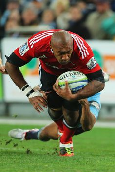 Nemani Nadolo crashes over to put the Crusaders in front for the first time in the Super Rugby grand final