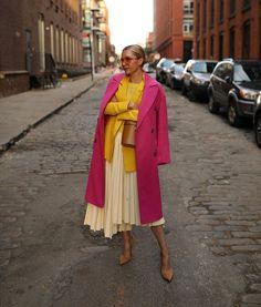 Atlantic-Pacific J Crew yellow blazer Top Shop pink coat Atlantic Pacific, Colourful Outfits, Trendy Outfits, Fashion Outfits, Womens Fashion, Skirt Fashion, Fashion Models, Look Fashion, Fashion Trends