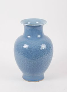 "Republic Period Blue Glazed Porcelain Vase Dimension: 11 3/8""H"