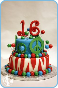 16th birthday cake, I like the style of this cake for Brooke but really needs to be in Hot Pink, Neon Green, and Purple.