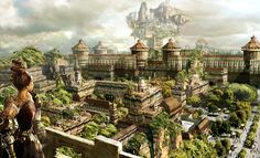 e621 anegasaki_dynamic armor balcony brown_hair building castle city clothing cloud courtyard detailed_background door female garden hair house houses human landscape looking_away mammal market mountain not_furry outside physically_impossible plant road royalty ruin ruler scenery scenery_porn sky solo standing tent tower tree unknown_artist urban walled_city wood