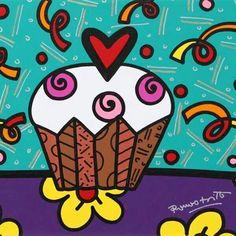 romero britto - Cupcake Arte Pop, Bright Colors Art, Graffiti Painting, Star Painting, Graffiti Art, Rock Painting, Cupcake Drawing, Arte Country, Bird Illustration